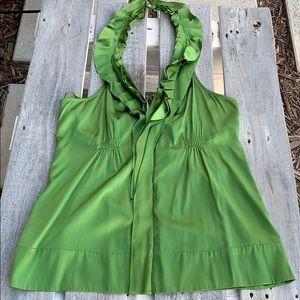 BCBG MaxAzria Green Silk Halter Top Sz L